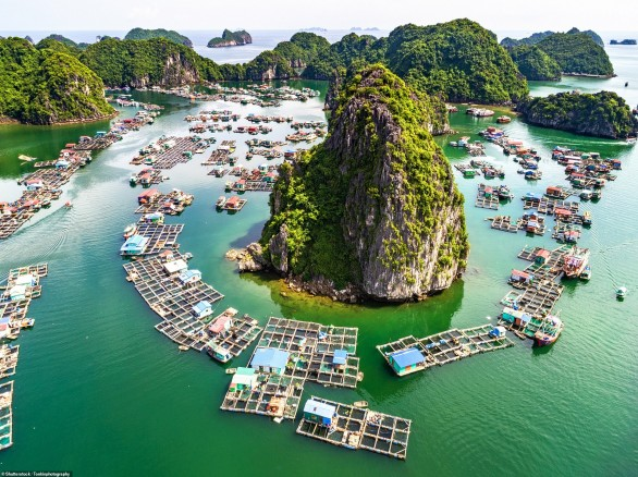 Làng cá nổi và đảo đá ở vịnh Lan Hạ